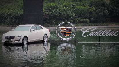 A Cadillac CTS on the water near Nanjing Road in Shanghai.