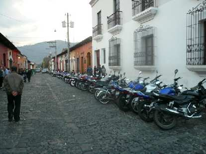 Motorcycles in Antigua, Guatemala.