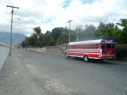 One of the many colorful chicken buses in Guatemala, which are recycled U.S. school buses from the 1970s, 80s and 90s.