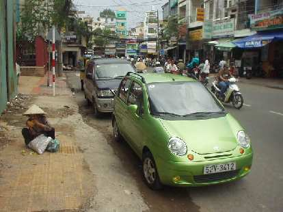 The very cute Daewoo Matiz is probably the most distinctive car in Vietnam.