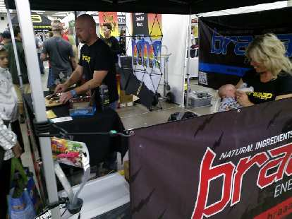 My friends Todd and Shauna manning the Braap booth, the energy bar they created.