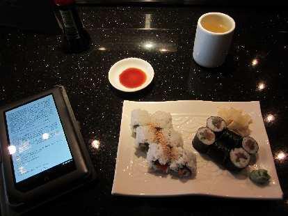 Having sushi at Azuma Sushi.
