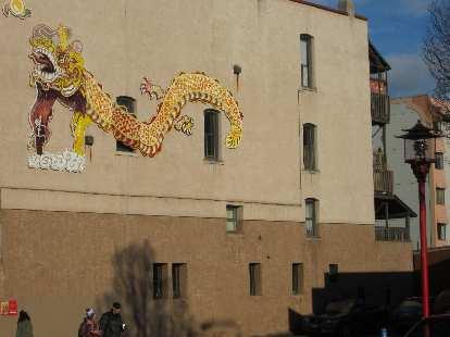 Dragon artwork in Chinatown.