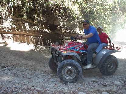 An ATV was on hand to carry bags and camping equipment to the top.