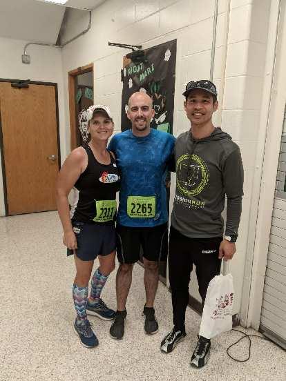 Mel, Manuel, and Felix before the 2019 Wabash Trace Trail Marathon.