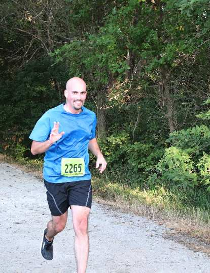 Manuel on the Wabash Trace Nature Trail, running his very first marathon.