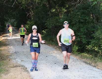 Mel at the 2019 Wabash Trace Nature Trail Marathon.