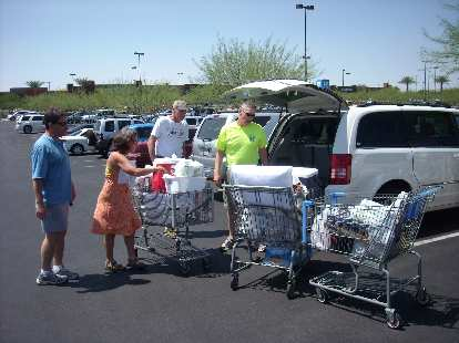 We bought three shopping carts of about $400 worth of stuff for the Badwater race. Amazingly it all fit in the van and Nathan's support vehicle.