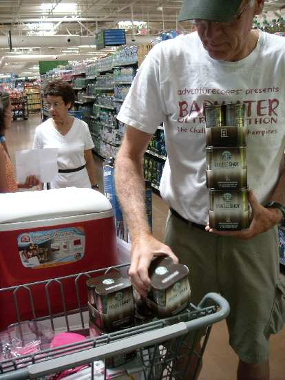 Loading up the cart with about 28 Starbucks Double Shots.  Ultimately we ended up using hardly any of them.