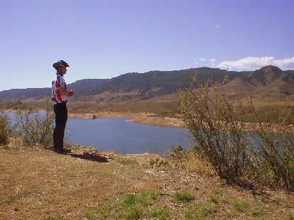 [Mile 104, 12:38 p.m.] Felix Wong overlooking the north end of the Horsetooth Reservoir.