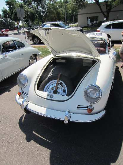 The spare tire in a Porsche 356 is at the front.