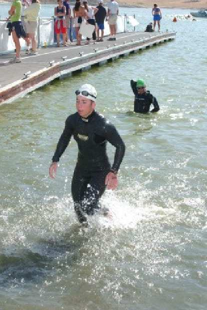 Meanwhile, Sharon (whose wave started 1 hour after mine) was coming out of the water.  Her swim leg was only 4 minutes slower than Heather Gollnick's, the winner of last year's Ironman Coeur d'Alene.