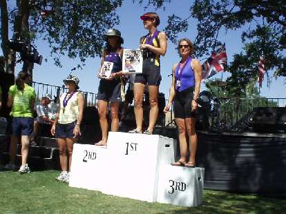 Meanwhile, the top professional women were receiving their awards.  The winners were Switzerland's Natascha Badmann (who smoked everyone on the bike!), 26-year-old Kate Major from Australia, and Wisconsin's Heather Gollnick.
