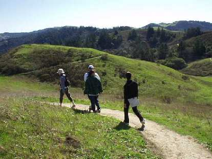 Hiking at the Windy Hill Open Space Preserve in Portola Valley on a beautiful clear Sunday morning.  There's Debby, Adrian, Evelyn, and Merry.