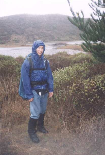 "[Point Reyes, Nov 2001] During this day hike, Sarah would constantly tease me about just how much stuff I had brought in my pack!  ""I am prepared!"" I'd say."