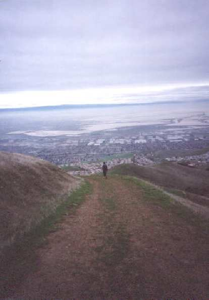 [Monument Peak, Jan 2002] Coming down from the summit with a great view of the Bay Area down below.