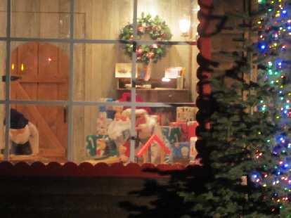 Inside were Santa and elves.