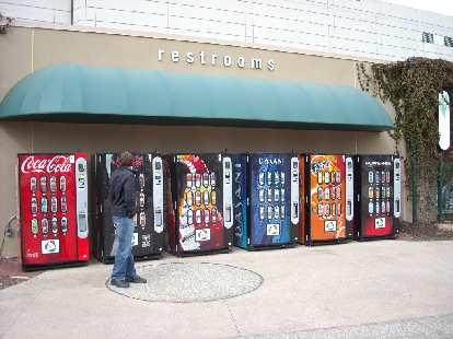Vending machines featuring Coca-Cola's American products.