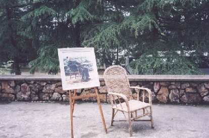 "At Mao's Villa in Wuhan.  ""That's really not his chair!"" my dad proudly observed."