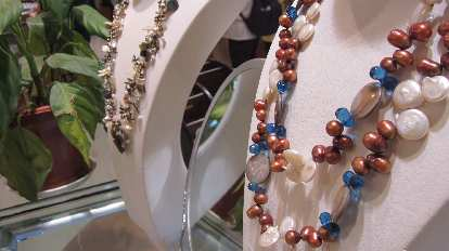 Pearl necklaces.