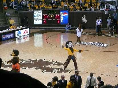 During half-time was a basketball game between mascots.  All of them were pretty bad, but funny.  Final score: 1-0.