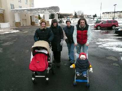 Ari, Phoebe, Dana, Nick, and babies Quran and Alistair were ready for the Arctic... er, Wyoming.