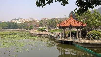 Pagoda by a pond near Xiamen University.