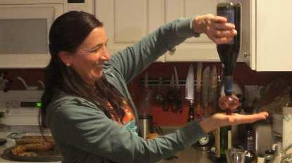Tori aerating some wine.