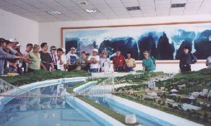 Model of how the Three Gorges will look like in the future when the controversial hydroelectric dam is built.  You can see my mom and dad back there.