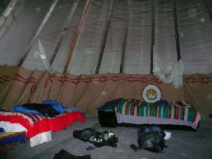 It was very roomy and comfy inside the teepee.