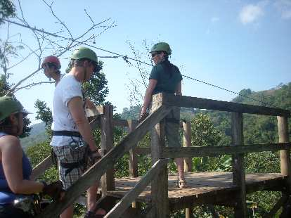 Tori about to go on the first zip-line.