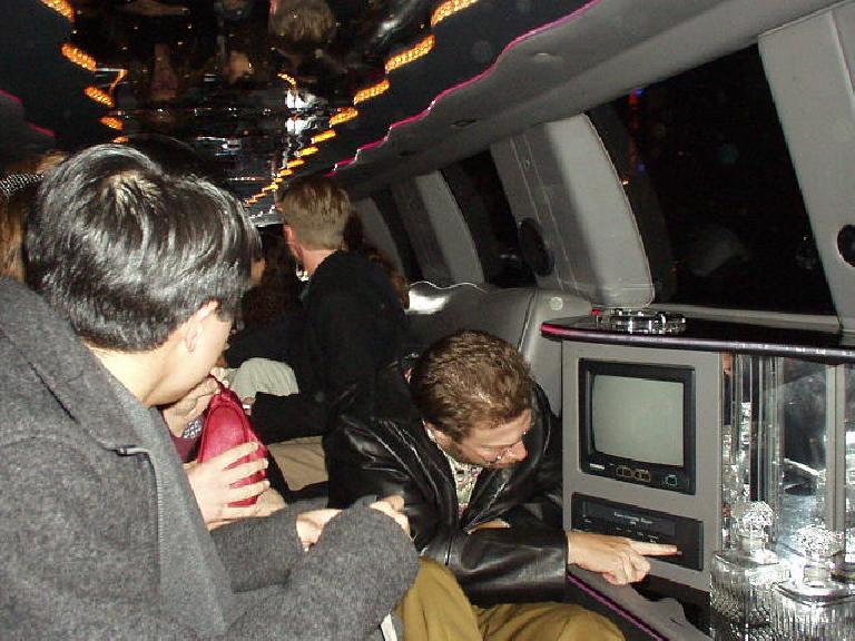 Inside the SUV limo during Aaron's b-day night.  Yes all 17 of us fit!