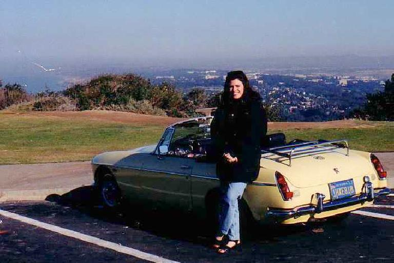 Adrienne with Goldie in sunny San Diego. (December 22, 1999)
