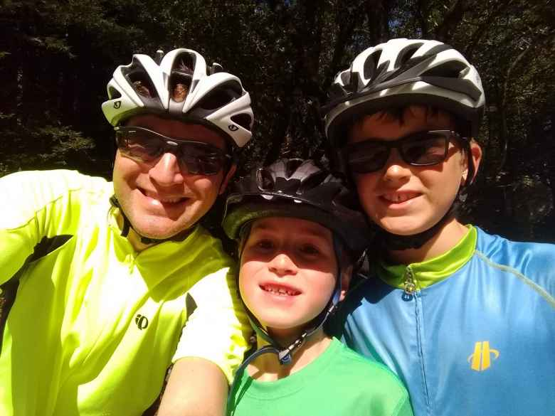 AJ Simon and his sons Tom and Ben on Old La Honda Road.