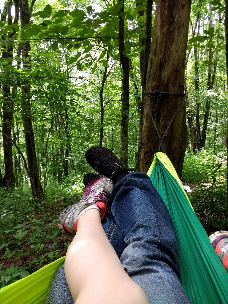 Resting at Mooney Gap on Albert Mountain in a green Chillax double hammock my brother and sister-in-law gave me during the holidays