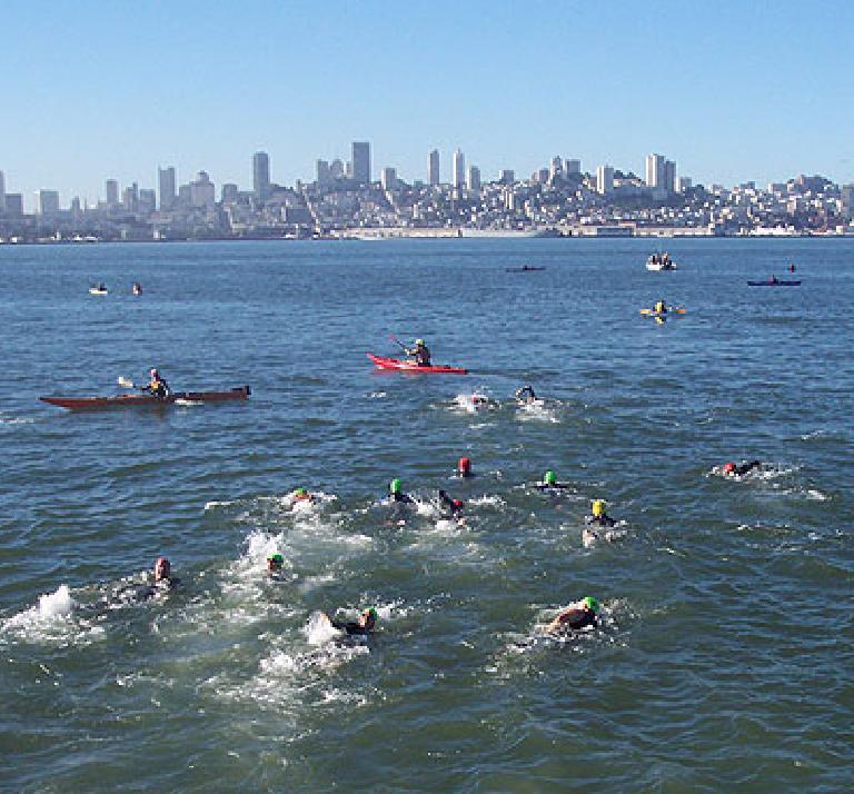 Swimming from Alcatraz to San Francisco.