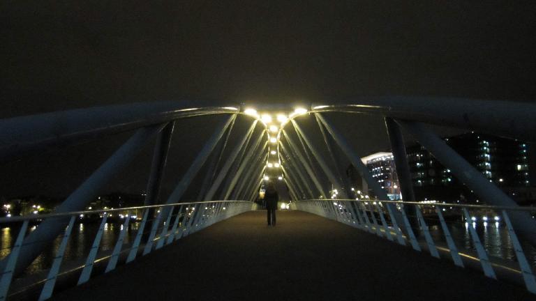 Bridge at night in Amsterdam.