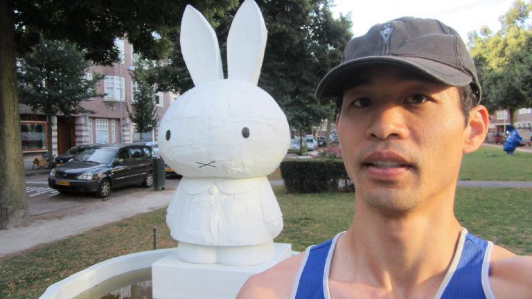 Encountering a rabbit during a morning run.