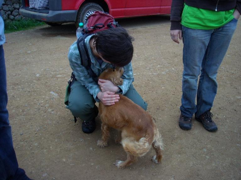 Sarah giving Bobby a hug in Lachatao (December 21, 2009)