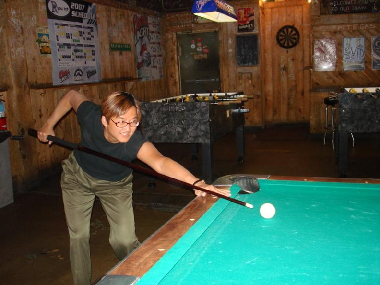 Ann, the pool shark.  She went 4-0 against Stacey and I. Photo: Ann Podbielski. (July 22, 2007)