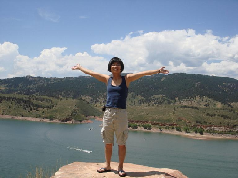 Stacey in front of Horsetooth Reservoir.  Photo: Ann Podbielski.