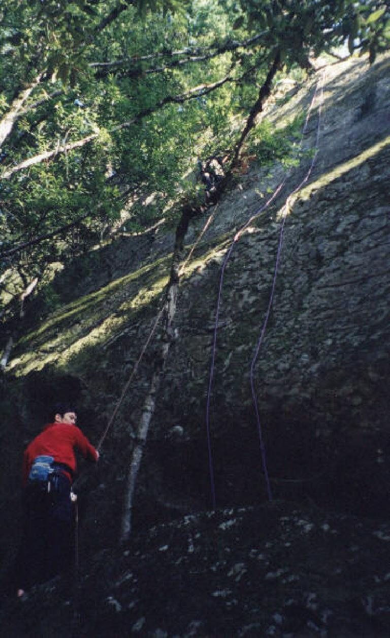 Here's George belaying his buddy up a 5.10.  I can't tell who it is from this view!