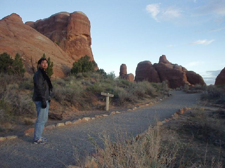 I stayed at Arches National Monument in Utah overnight and went for a quick run through Devils Garden in the morning.  The air temperature was very nice and the scarf I was wearing was totally not necessary.