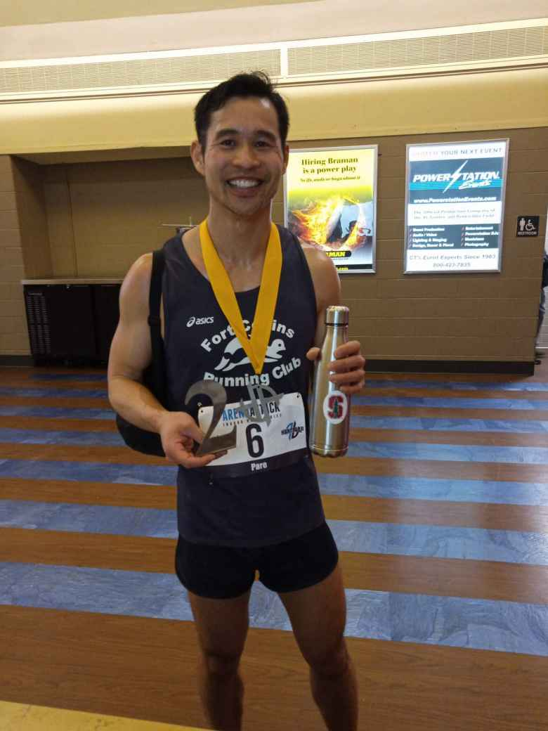 Felix Wong finishing 2nd overall in the 2020 Arena Attack Indoor Marathon.