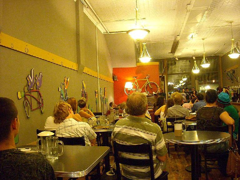 Poetry jam inside the Bean Cycle, one of my favorite coffee shops with a bicycle theme.