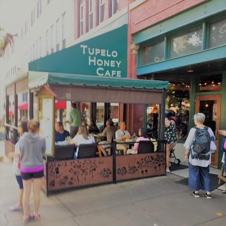 Tupelo Honey Cafe was very popular with very long wait times.