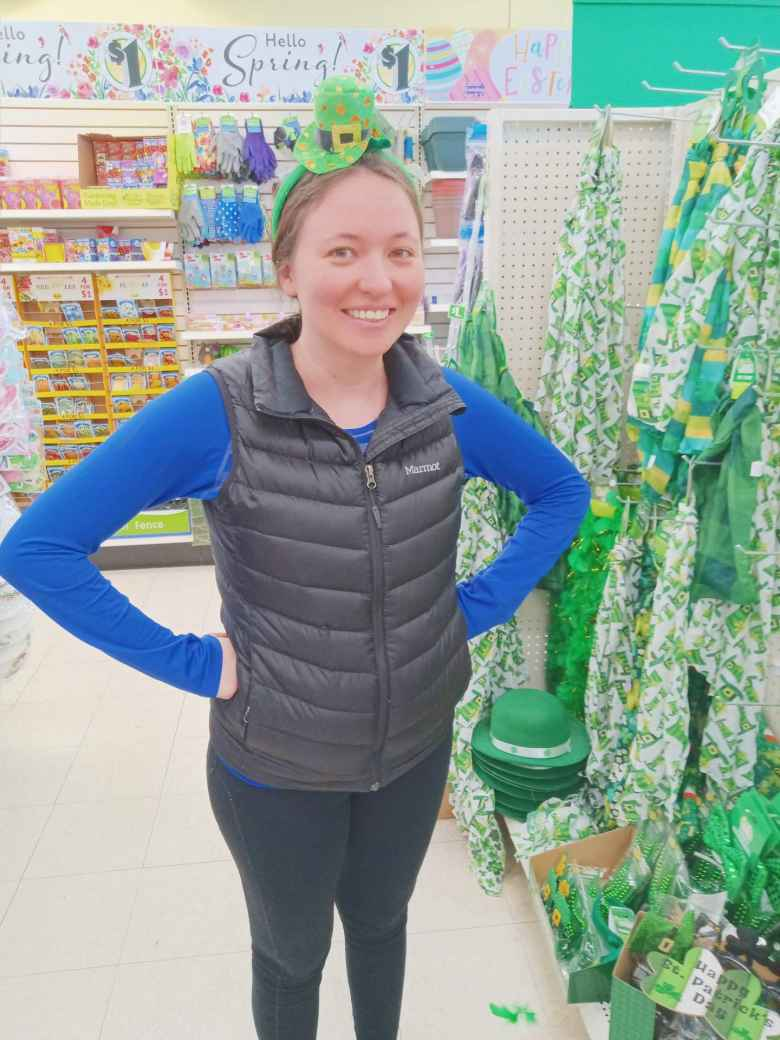 Maureen modeling a St. Patrick's Day hat in the Dollar Tree we stopped by.