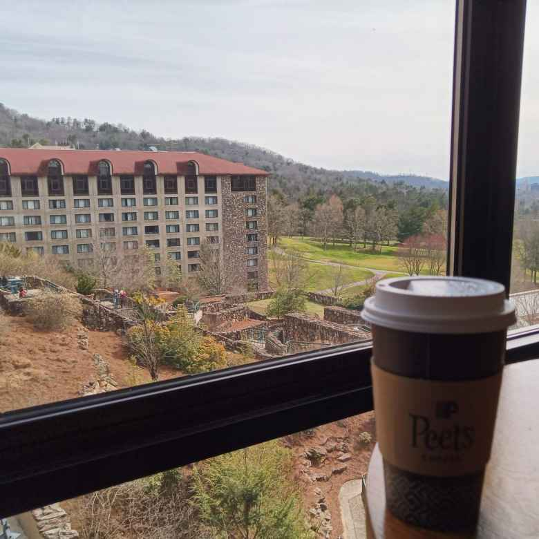 Enjoying a Peet's Coffee and the view behind the Grove Park Inn in Asheville.