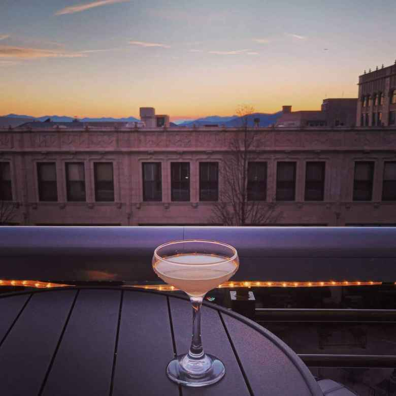A Hemingway Daiquiri at Hemingway's Cuba in Asheville, with a nice sunset behind.