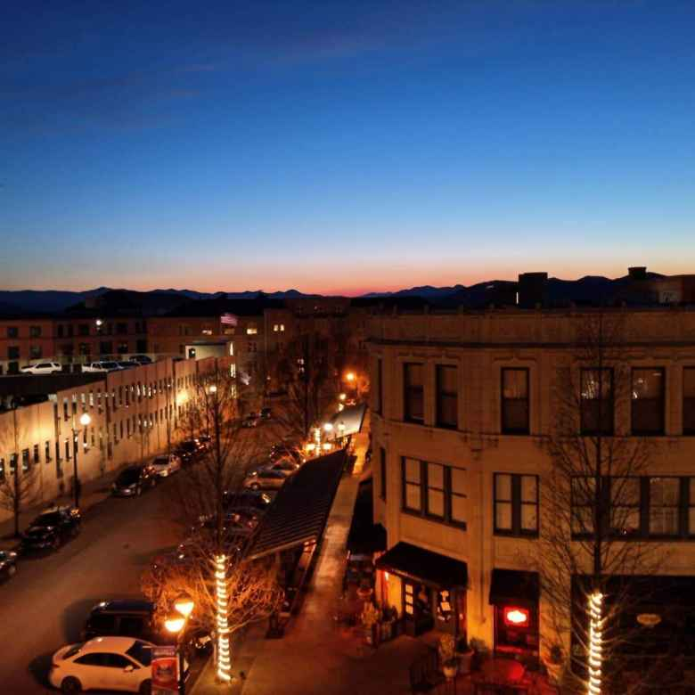 Downtown Asheville at sunset.
